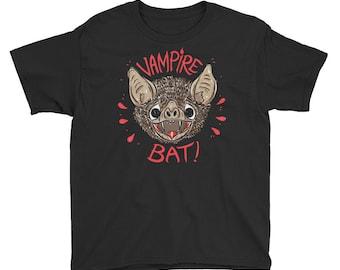 Youth Vampire Bat Short Sleeve tee shirt T-Shirt girls boys bat lover desmodus rotundus bat biologist children's size