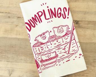 Dumplings Tea Towel Dish Towel Kitchen Towel Chinese food cuisine asian cooking housewarming chef gift wonton potsticker funny food cute
