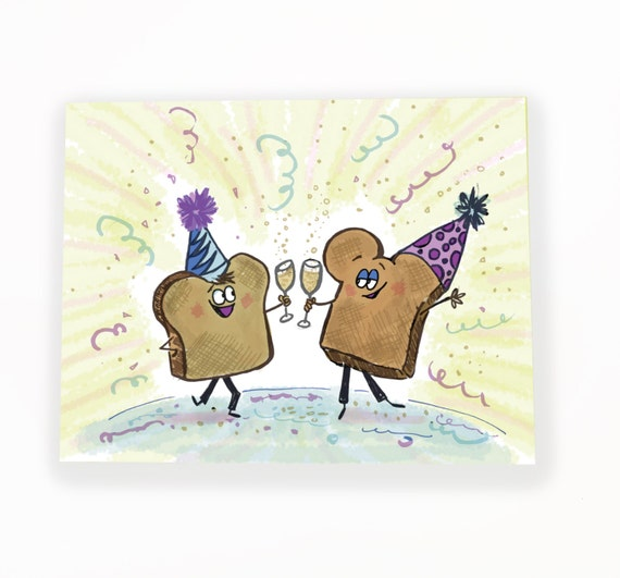new years card toasts toasting the new year champagne toast | Etsy