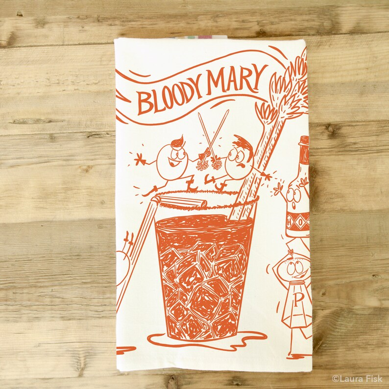 Bloody Mary Tea Towel  Brunch theme  Kitchen Towel  Dish image 0