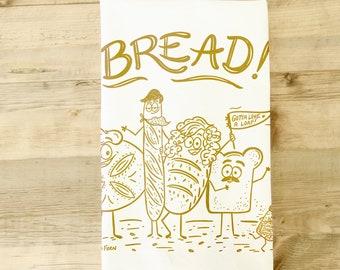 Bread Tea Towel Dish Towel Kitchen Towel Baking Baker bread maker starter bread loaf chef food with faces funny food housewarming