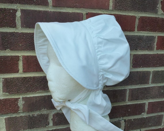 Girls White Pioneer Bonnet by Etsy