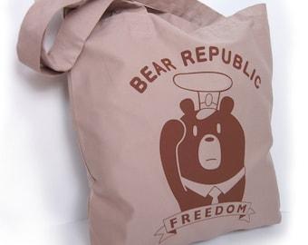 Bear Republic Network Canvas Tote bag Freedom Bear Silkscreen