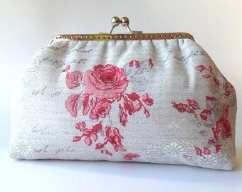 Pink roses clutch, romantic floral kiss lock purse, handmade frame bag, cosmetic bag
