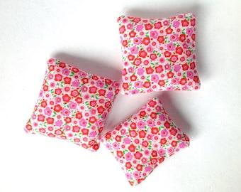 Miniature throw pillow, Romantic floral mini pillow 1:12 scale, Dollhouse miniature cushion, pink flowers fashion doll decor, ONE pillow m33
