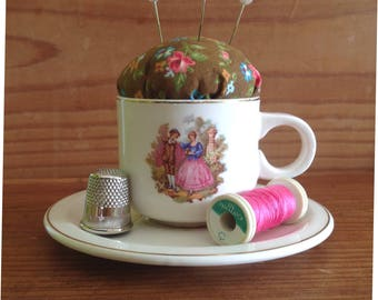 Upcycled cup pincushion, handmade brown floral fabric pins and needles cushion, portuguese vintage coffee cup with saucer, ecofriendly