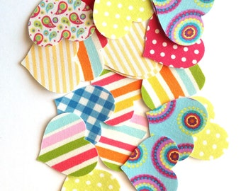 Fabric heart stickers, Handmade fabric sticker, Patterned fabric washi tape, adhesive hearts, scrapbooking cardmaking supply, 19 hearts wh3