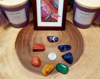 CHAKRA Gemstone / Crystal Pouch Set --- 7 Tumbled / Polished Gemstones --- Grade A !!