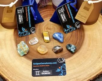 GEMINI --- ZODIAC Gemstone Ritual / Intention / Healing Pouch Set --- 7 Gemstones --- Grade A