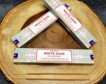 1 Box WHITE SAGE Incense Sticks --- 15 g (grams) --- Satya Sai Baba