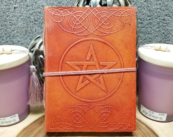 PENTACLE Leather Journal / Grimoire / Book Of Shadows  --- Handmade, Leather Cover, Cord Closure, 190 Pages --- JB75-wp