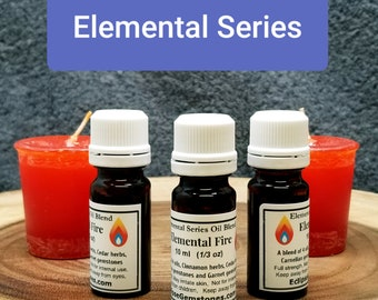 FIRE Herbal Oil Blend --- 10 ml - 1/3 oz --- Eclipse Gemstones ELEMENTAL SERIES --- Handcrafted with Herbs and Gemstones