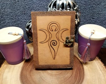 GODDESS Leather Journal / Grimoire / Book Of Shadows  --- Handmade, Leather Cover, Brass Latch Closure, 190 Pages --- JB75-earth