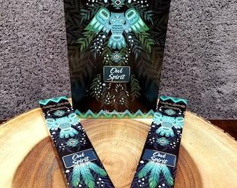 OWL SPIRIT Incense Sticks --- CEDARWOOD Blend ---  15 gram package --- Harmonia Brand by Goloka