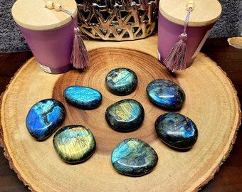 Hand Polished LABRADORITE --- 1 Gallet / Palmstone --- EXTRA LARGE / Large Sizes --- Grade A