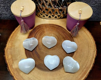 """Medium SELENITE PUFF HEART (satin spar) --- 1 1/2"""" to 2"""" --- Polished --- Cleanse and charge your crystals, tumbled stones, and more !!"""