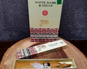 WHITE SAGE and CEDAR Incense Sticks --- Native Soul Smudge Incense Sticks from Green Tree --- 15 gram package --- greentree