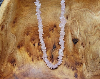 "ROSE QUARTZ Gemstone Chip Necklace --- 36"" --- All Natural Gemstone"