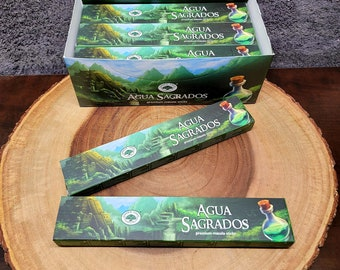 Green Tree AGUA SAGRADOS Incense Sticks --- SACRED Water --- Premium Masala Incense Sticks from Green Tree --- 15 gram package --- greentree