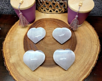 """Large SELENITE PUFF HEART (satin spar) --- 2 1/2"""" to 3"""" --- Polished --- Cleanse and charge your crystals, tumbled stones, and more !!"""