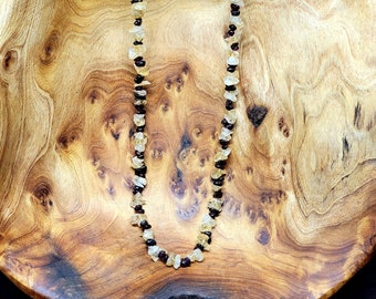 "GARNET and CITRINE Gemstone Chip Necklace --- 36"" --- All Natural Gemstone"