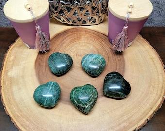 "Medium GREEN AVENTURINE Puff HEART --- 2"" to 2 1/2"" --- Polished --- Love Attraction !"