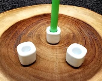 WHITE CERAMIC HOLDER for Chime / Mini Ritual Candles --- Plain White --- chimeholder