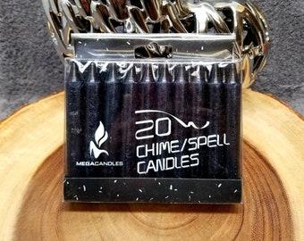"Box of BLACK Mini / Chime Candles --- 20 mini / Chime candles --- 4"" Tall"