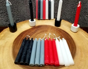 """PROTECTION chime CANDLE SET --- 12 Mini / Chime Candles ---  3 Each of 4 Colors --- 4"""" Tall"""
