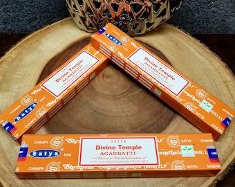 1 Box DIVINE TEMPLE Incense Sticks --- 15 g (grams) --- Satya Sai Baba