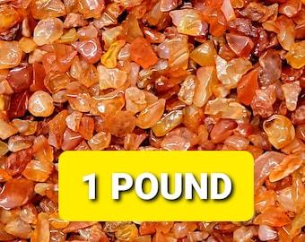1 Pound CARNELIAN Gemstone Chips --- 1 POUND  (16 ozs) --- Polished / Tumbled--- Grade A --- (gemstone chips)