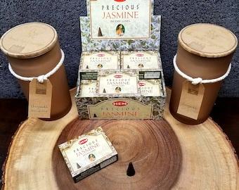 PRECIOUS JASMINE Incense Cones --- Box of 10 Cones --- By HEM