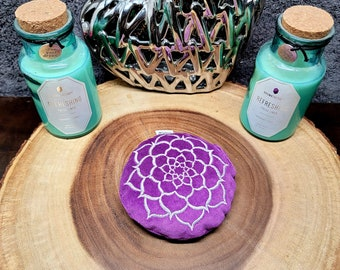 """Purple LOTUS CRYSTAL CUSHION --- Crystal Pillow --- Embroidered Velvet --- About 4"""" in diameter"""