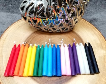 """20 Mini / Chime Candles --- 2 Each of 10 Colors --- 4"""" Tall x 1/2"""" diameter"""