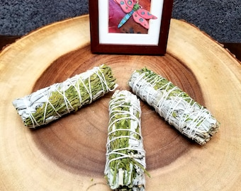 White SAGE and RUDA RUE Smudge Bundle --- Protection. Purification, Cleansing, Exorcism, Happiness, Uncrossing