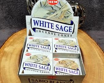 WHITE SAGE Incense Cones --- Box of 10 Cones --- By HEM