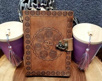 CHAKRA Leather Journal / Grimoire / Book Of Shadows  --- Handmade, Leather Cover, Cord Closure, 140 Pages --- JB7s-HT