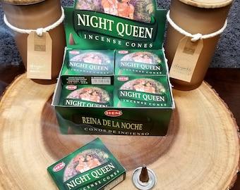 NIGHT QUEEN Incense Cones --- Box of 10 Cones --- By HEM
