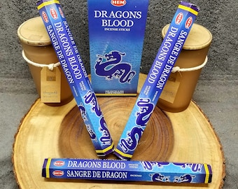 "BLUE DRAGON'S BLOOD Incense Sticks --- Hexagon Box of 20 of the 10"" sticks --- By Hem"