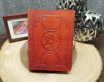 TRIPLE MOON PENTACLE Leather Journal / Grimoire / Book Of Shadows  --- Handmade, Leather Cover, Cord Closure, 140 Pages --- JB7s-Tmp