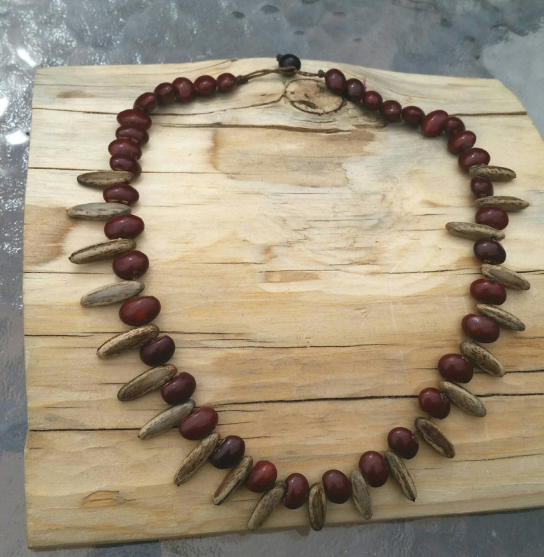 Wood Seed bead necklace Costa Rica