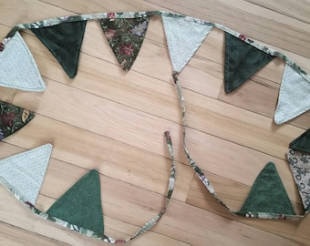 Green Flag Banner fabric  Bunting Boho St Patricks Day photo prop Baby Nursery party banner