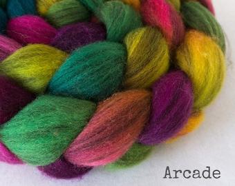 Handpainted Heathered BFL Wool Roving - 4 oz. ARCADE - Spinning Fiber
