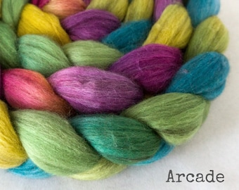 Handpainted Merino Yak Silk Roving - 4 oz. ARCADE - Spinning Fiber