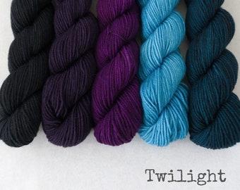 Mini Skeins - Gradient Handpainted Fingering Yarn - Simply Sock - 100 gm set - TWILIGHT - Merino Nylon Sock Yarn