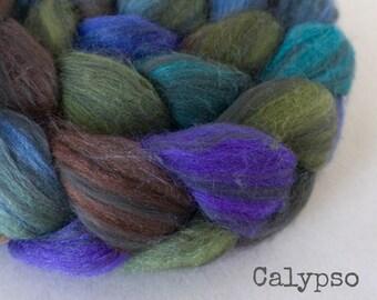 Handpainted Polwarth Wool Black Bamboo Silk Roving - 4 oz. CALYPSO - Spinning Fiber