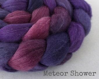 Handpainted Superfine Merino Cashmere Mulberry Silk Roving - 4 oz. METEOR SHOWER - Spinning Fiber