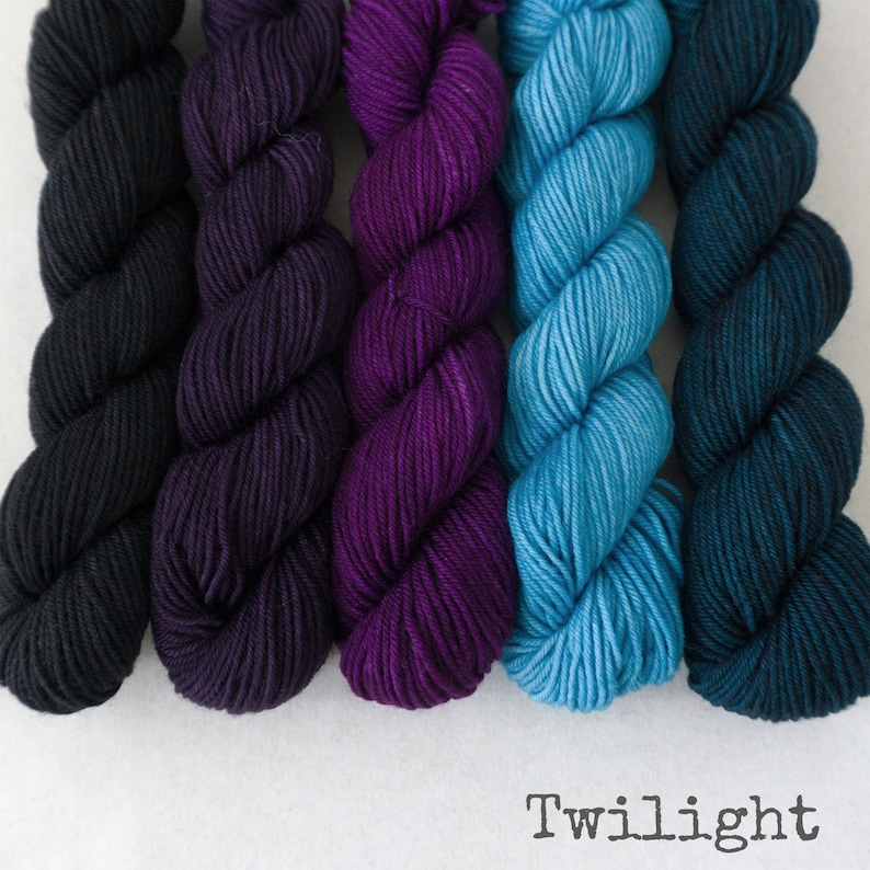 Simply Sock Merino Nylon Sock Yarn TWILIGHT 100 gm set Mini Skeins Gradient Handpainted Fingering Yarn