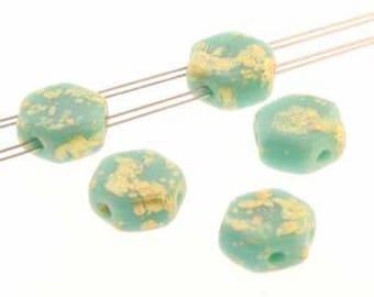 Czech Glass Honeycomb Bead, Two Hole Bead, 6mm, 30 beads, Turquoise Green Gold Splash
