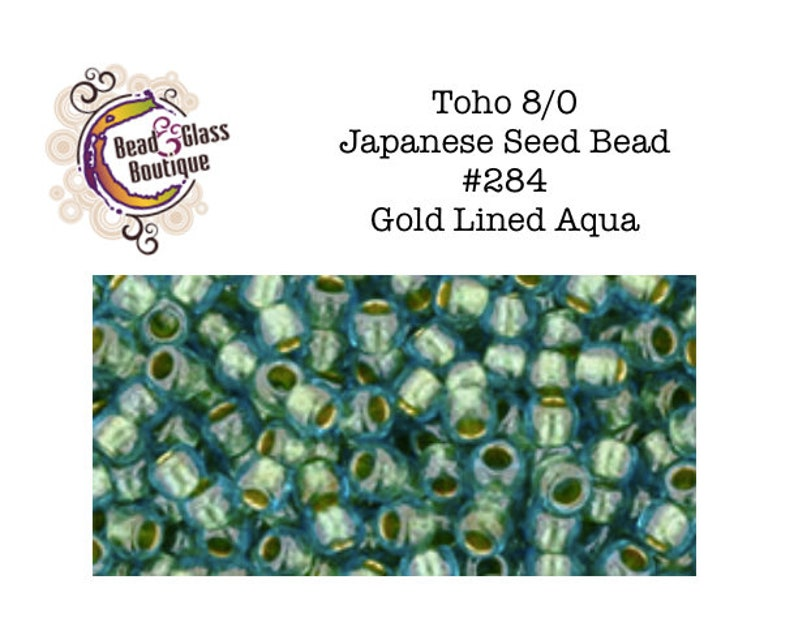 #284 Gold Lined Aqua other sizes coming soon Japanese Round Bead Toho Seed Bead CHOOSE YoUR SIZE:  80